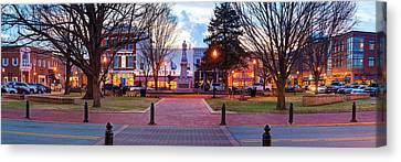 Downtown Bentonville Arkansas Town Square Panoramic  Canvas Print by Gregory Ballos