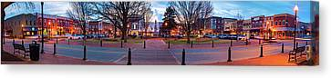 Downtown Bentonville Arkansas Town Square Skyline Panoramic  Canvas Print by Gregory Ballos