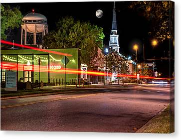 Downtown Bentonville Under A Full Moon Canvas Print by Gregory Ballos
