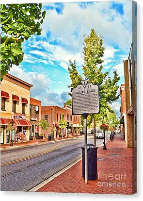 Downtown Blacksburg With Historical Marker Canvas Print