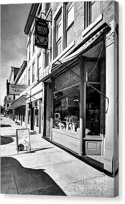 Downtown Brookville Indiana # 2 Black And White Canvas Print