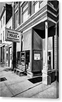 Downtown Brookville Indiana Black And White Canvas Print by Mel Steinhauer