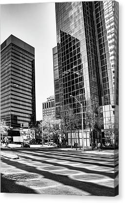 Canvas Print featuring the photograph Downtown Bubble Reflections by Darcy Michaelchuk