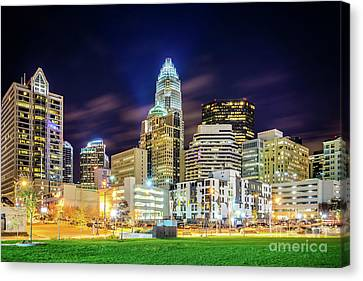 Downtown Charlotte North Carolina City At Night Canvas Print by Paul Velgos
