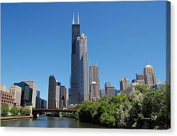 Downtown Chicago Skyline - View Along The River Canvas Print by Suzanne Gaff