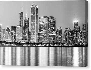 Downtown Chicago Skyline Black And White Photo Canvas Print by Paul Velgos