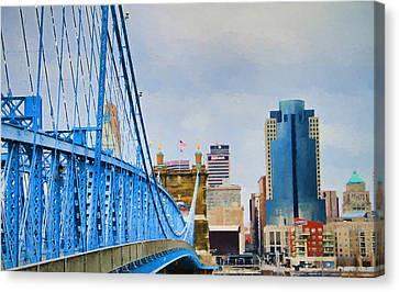 Downtown Cincinnati And John Roebling Bridge Canvas Print by Dan Sproul