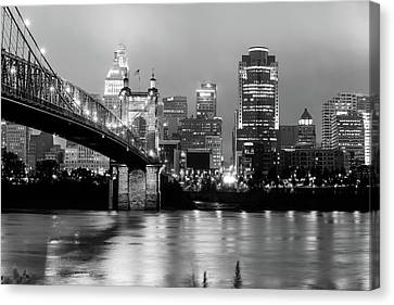 Canvas Print featuring the photograph Downtown Cincinnati City Skyline - Black And White by Gregory Ballos