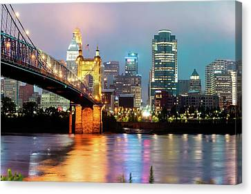 Canvas Print featuring the photograph Downtown Cincinnati City Skyline - Color by Gregory Ballos