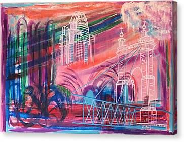 Roebling Bridge Canvas Print - Downtown Cincinnati by Diane Pape