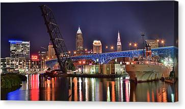 Downtown Cleveland Canvas Print by Frozen in Time Fine Art Photography
