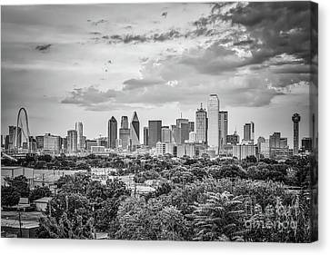 Downtown Dallas In Black And White Canvas Print by Tod and Cynthia Grubbs