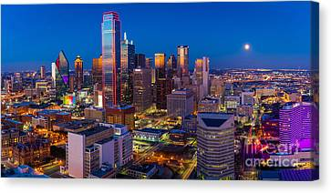 Downtown Dallas Panorama Canvas Print by Inge Johnsson