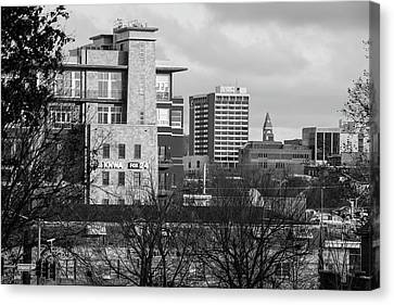 Downtown Fayetteville Arkansas Skyline - Dickson Street - Black And White Edition. Canvas Print by Gregory Ballos