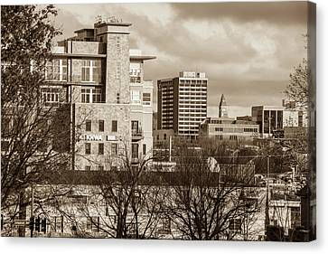 Downtown Fayetteville Arkansas Skyline - Dickson Street - Sepia Edition. Canvas Print