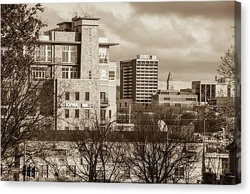Downtown Fayetteville Arkansas Skyline - Dickson Street - Sepia Edition. Canvas Print by Gregory Ballos