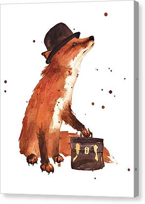 Downtown Fox Canvas Print by Alison Fennell