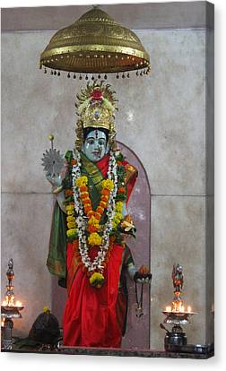 Downtown Ganeshpuri Durga Temple Canvas Print by Jennifer Mazzucco