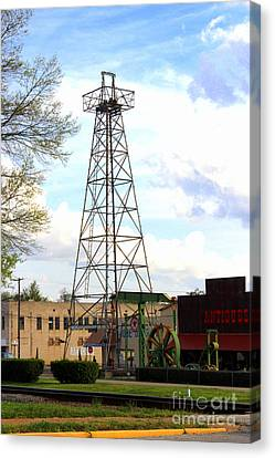 Downtown Gladewater Oil Derrick Canvas Print by Kathy  White