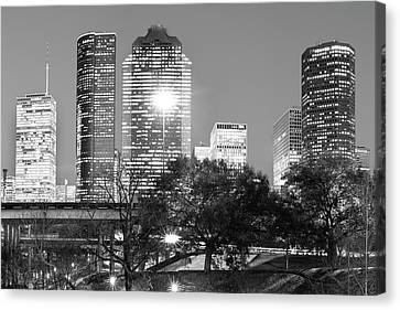 City Scenes Canvas Print - Downtown Houston City Skyline - Black And White by Gregory Ballos
