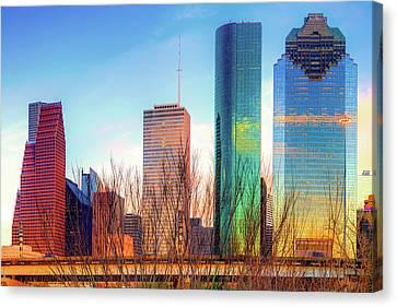 Downtown Houston Texas Skyline At Sunset Canvas Print