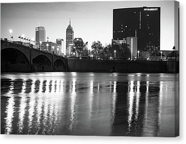 Downtown Indianapolis City Skyline - Black And White Canvas Print