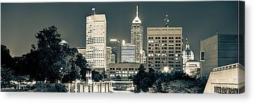 Downtown Indianapolis Indiana Skyline Panoramic Canvas Print by Gregory Ballos
