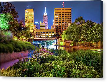 Downtown Indianapolis Skyline At Night Canvas Print by Gregory Ballos