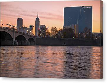 Downtown Indianapolis Skyline Sunrise On The Water Canvas Print by Gregory Ballos