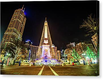 Downtown Indy Circle Of Lights - Monument Circle - Indianapolis Canvas Print by Gregory Ballos
