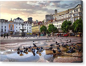 Downtown Lisbon Canvas Print by Carlos Caetano