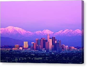 Downtown Los Angeles In Winter Canvas Print by Andrew Kennelly