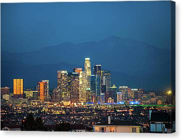Downtown Los Angeles Skyline At Night Canvas Print by Gregory Ballos