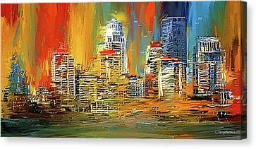 Downtown Louisville - Colorful Abstract Art Canvas Print by Lourry Legarde