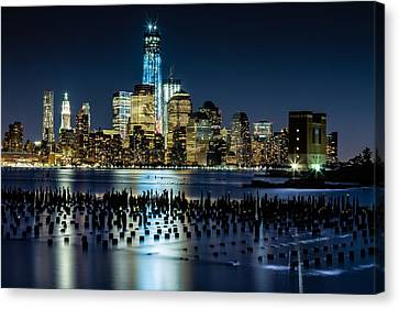 Downtown Manhattan And Old Pier Remains Canvas Print