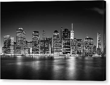 Downtown Manhattan Bw Canvas Print by Az Jackson