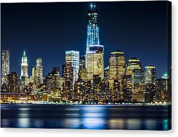 Downtown Manhattan From Hoboken Canvas Print