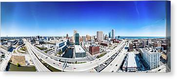 Canvas Print featuring the photograph Downtown Milwaukee From 200 Feet by Randy Scherkenbach