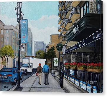 Montreal Streets Montreal Street Scenes Canvas Print - Downtown Montreal by Reb Frost