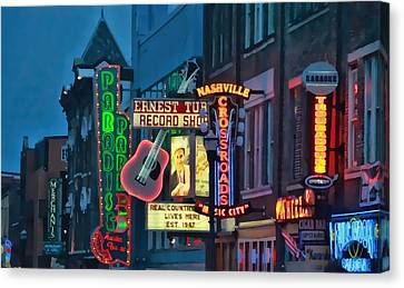 Downtown Nashville At Dusk Canvas Print by Dan Sproul