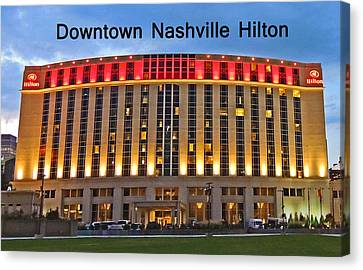 Downtown Nashville Hilton 2 Canvas Print by Marian Bell