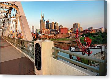 Downtown Nashville Canvas Print - Downtown Nashville Skyline From The Shelby Street Bridge by Gregory Ballos