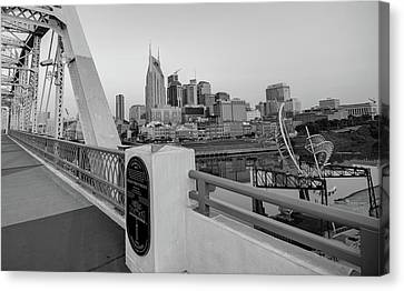 Nashville Tennessee Canvas Print - Downtown Nashville Skyline From The Shelby Street Bridge - Monochrome by Gregory Ballos