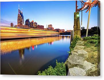 Downtown Nashville Canvas Print - Downtown Nashville Tennessee Skyline On The River by Gregory Ballos