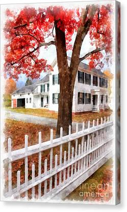 Downtown Norwich Vermont Picket Fence Canvas Print