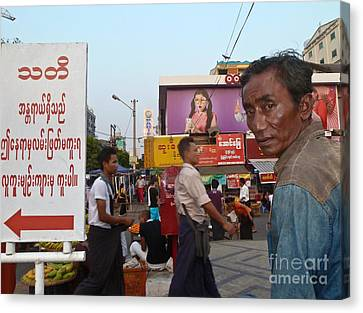 Downtown Rangoon Burma With Curious Man Canvas Print