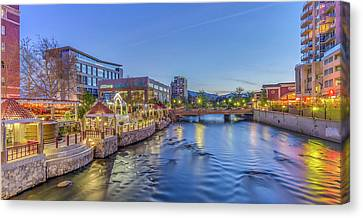 Canvas Print featuring the photograph Downtown Reno Along The Truckee River by Scott McGuire