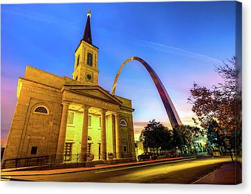 Downtown Saint Louis Arch And The Old Cathedral - Basilica Of St. Louis Canvas Print by Gregory Ballos