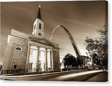 Downtown Saint Louis Arch And The Old Cathedral - Basilica Of St. Louis In Sepia Canvas Print by Gregory Ballos