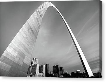 Saint Canvas Print - Downtown Saint Louis Skyline Under The Arch - Black And White by Gregory Ballos